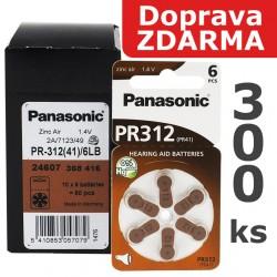 Baterie Panasonic 312 (PR41) - do naslouchadel   300ks (50 x 6 ks na blistru)   Doprava ZDARMA