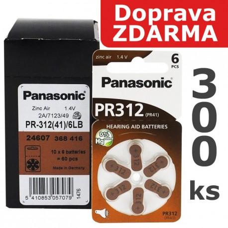 Baterie Panasonic 312 (PR41) - do naslouchadel | 300ks (50 x 6 ks na blistru) | Doprava ZDARMA