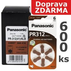 Baterie Panasonic 312 (PR41) - do naslouchadel   600ks (100 x 6 ks na blistru)   Doprava ZDARMA