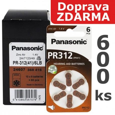 Baterie Panasonic 312 (PR41) - do naslouchadel | 600ks (100 x 6 ks na blistru) | Doprava ZDARMA